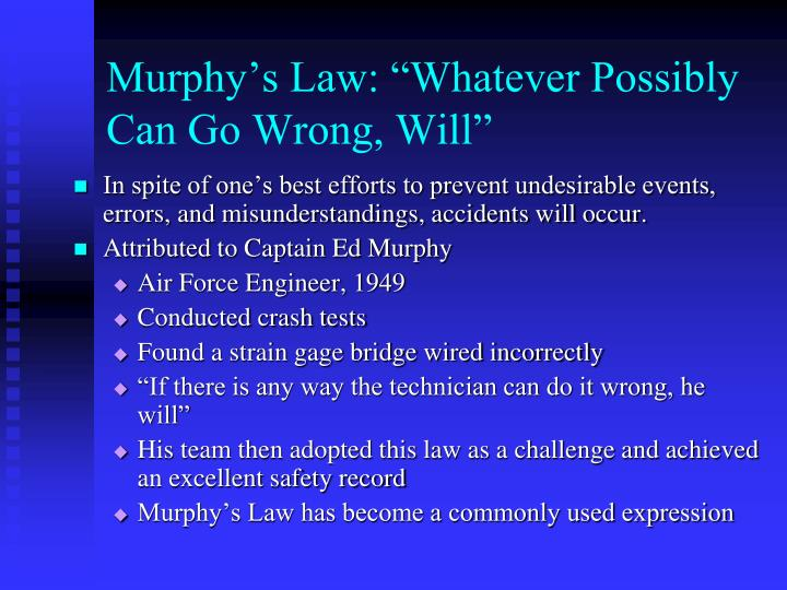 "Murphy's Law: ""Whatever Possibly Can Go Wrong, Will"""