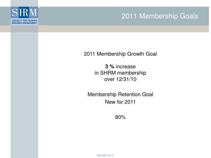 2011 Membership Goals