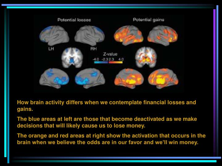 How brain activity differs when we contemplate financial losses and gains.
