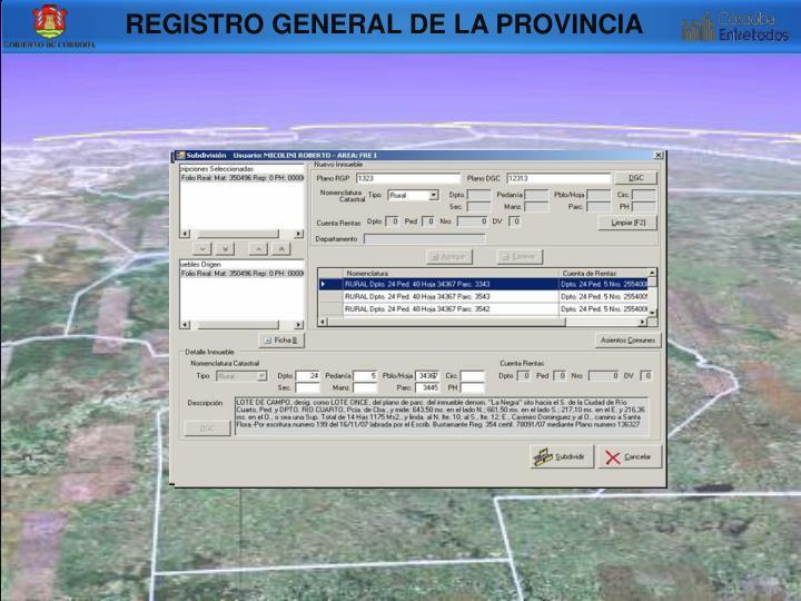 REGISTRO GENERAL DE LA PROVINCIA