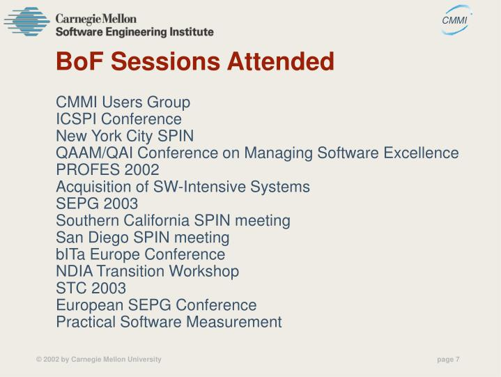 BoF Sessions Attended