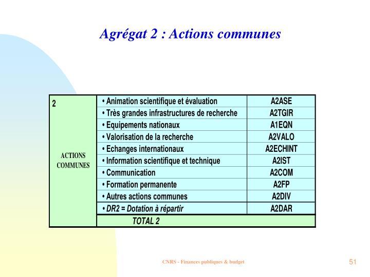 Agrégat 2 : Actions communes