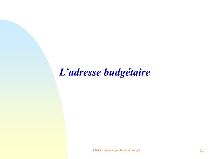L'adresse budgétaire
