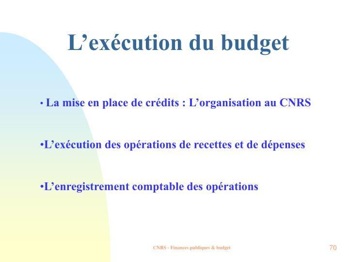 L'exécution du budget