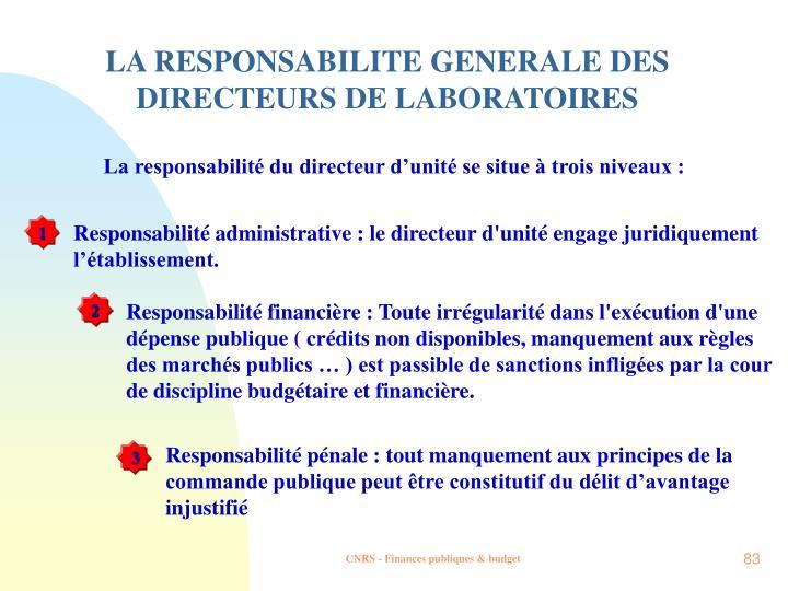 LA RESPONSABILITE GENERALE DES DIRECTEURS DE LABORATOIRES