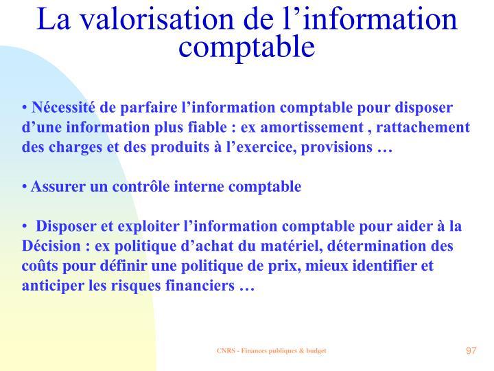 La valorisation de l'information comptable