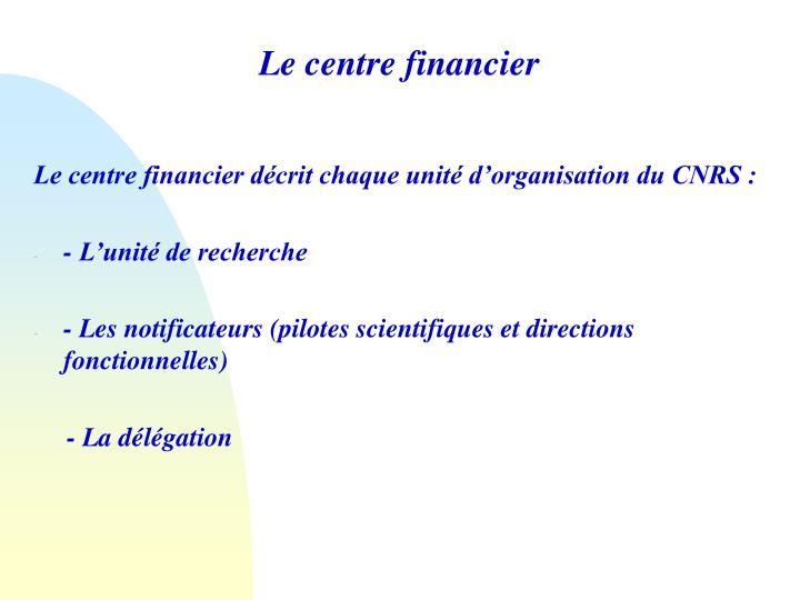 Le centre financier