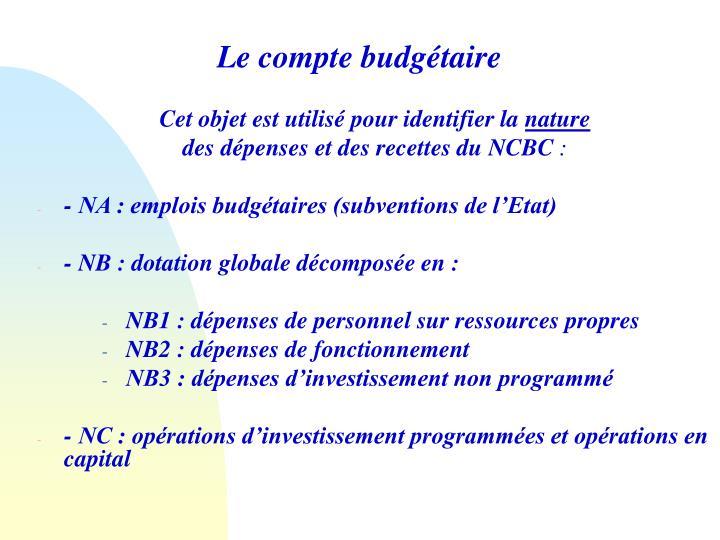 Le compte budgétaire