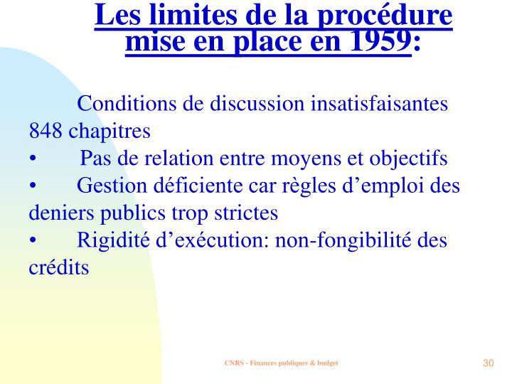Les limites de la procédure mise en place en 1959