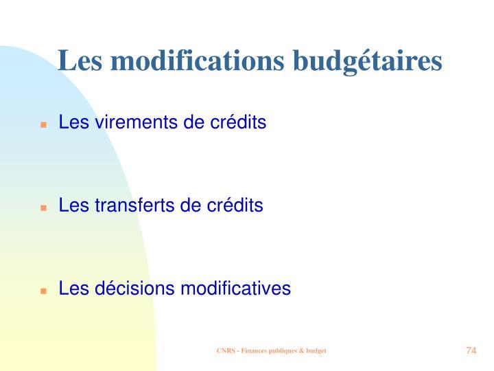 Les modifications budgétaires