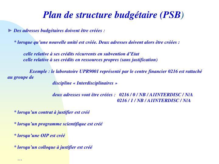 Plan de structure budgétaire (PSB