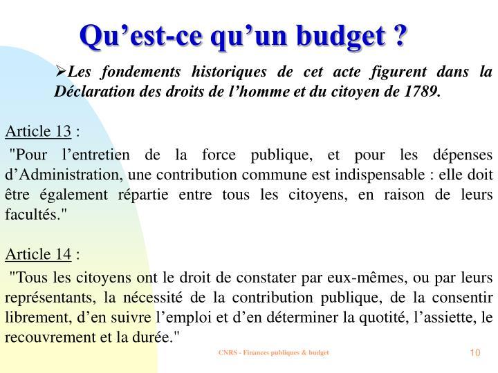 Qu'est-ce qu'un budget ?