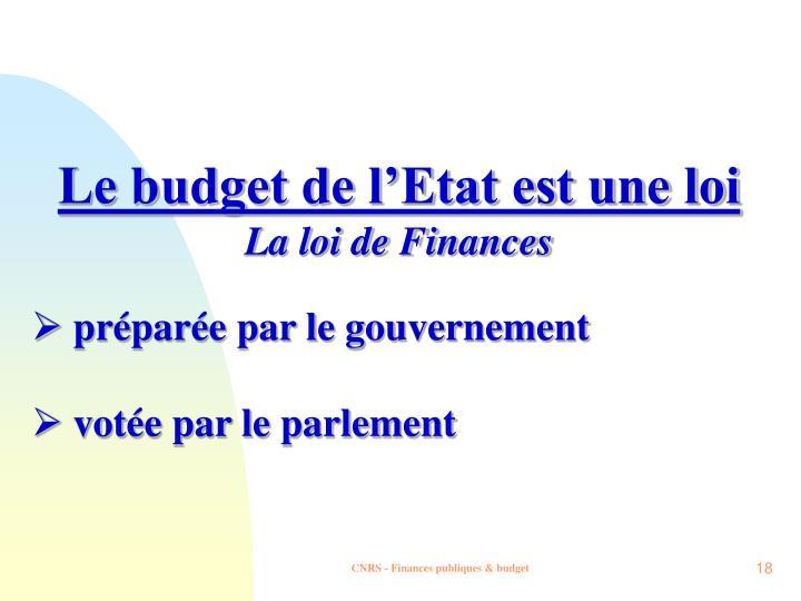 Le budget de l'Etat est une loi