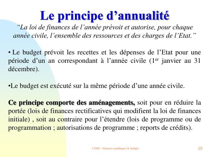Le principe d'annualité