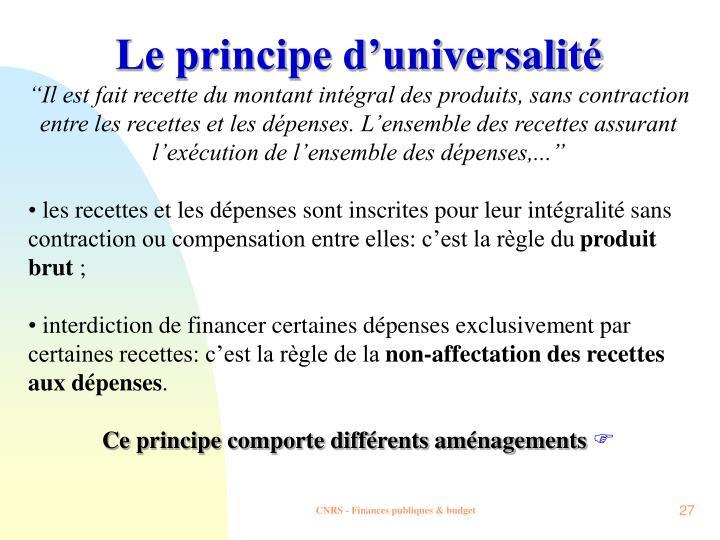 Le principe d'universalité