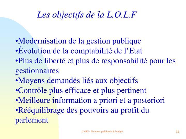 Les objectifs de la L.O.L.F