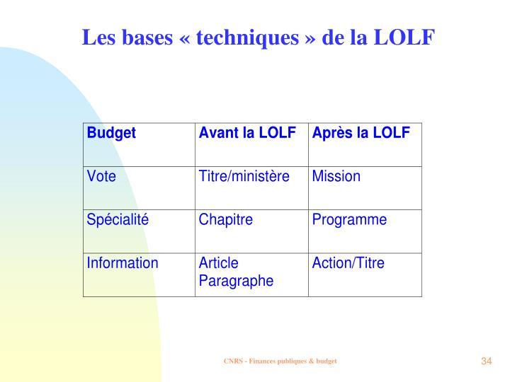 Les bases «techniques » de la LOLF