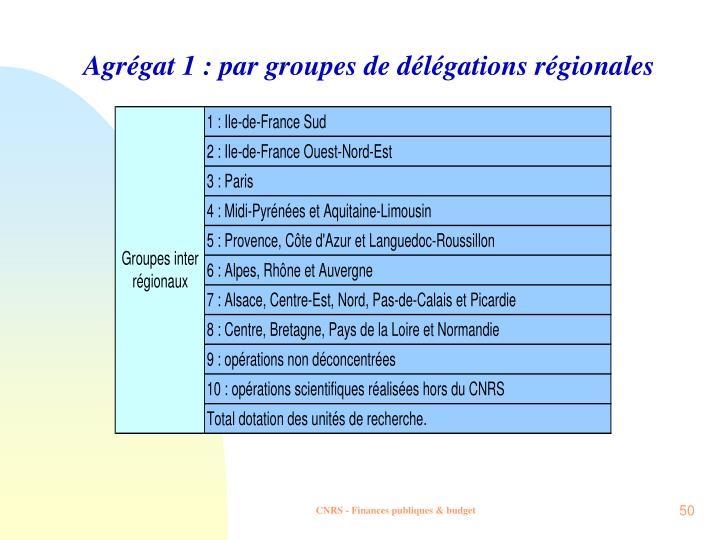 Agrégat 1 : par groupes de délégations régionales