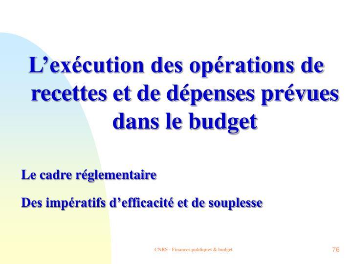 L'exécution des opérations de recettes et de dépenses prévues dans le budget