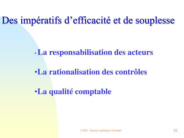 Des impératifs d'efficacité et de souplesse