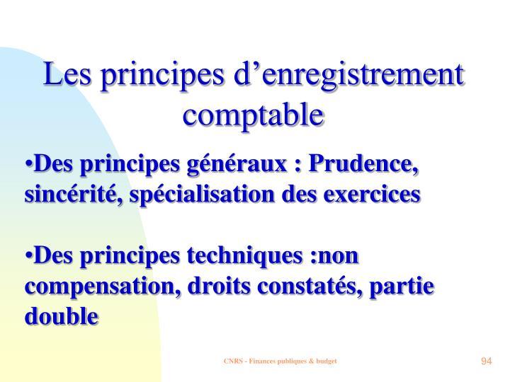 Les principes d'enregistrement comptable