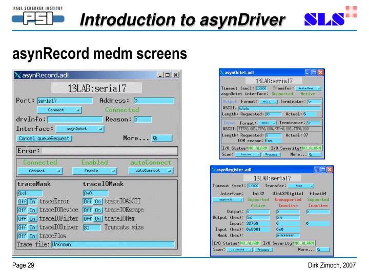 asynRecord medm screens