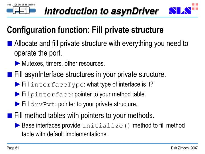 Configuration function: Fill private structure