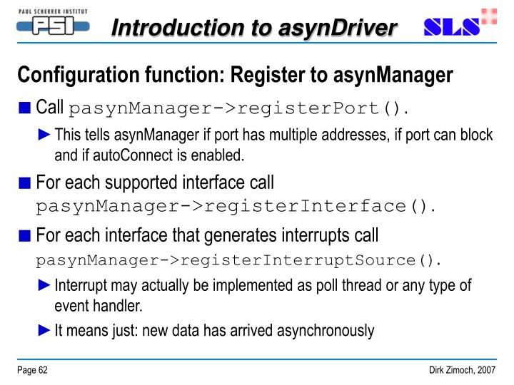 Configuration function: Register to asynManager