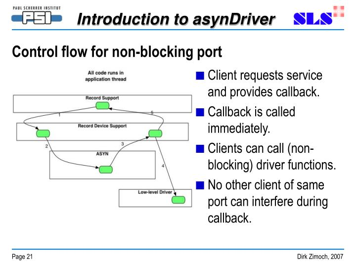 Control flow for non-blocking port