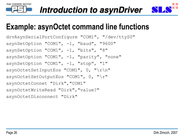 Example: asynOctet command line functions