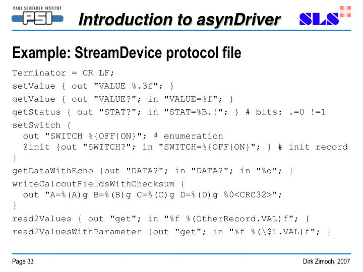 Example: StreamDevice protocol file
