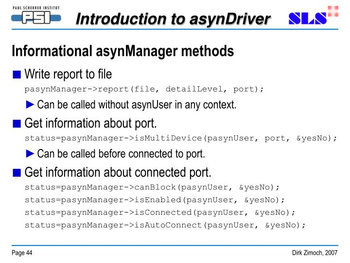 Informational asynManager methods