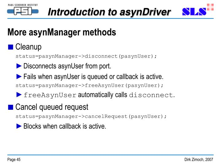 More asynManager methods