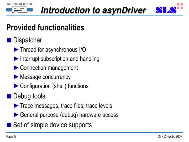 Provided functionalities