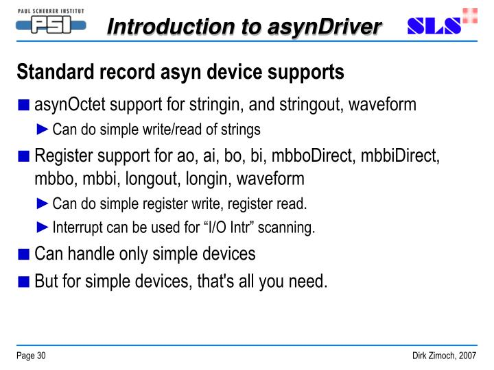 Standard record asyn device supports
