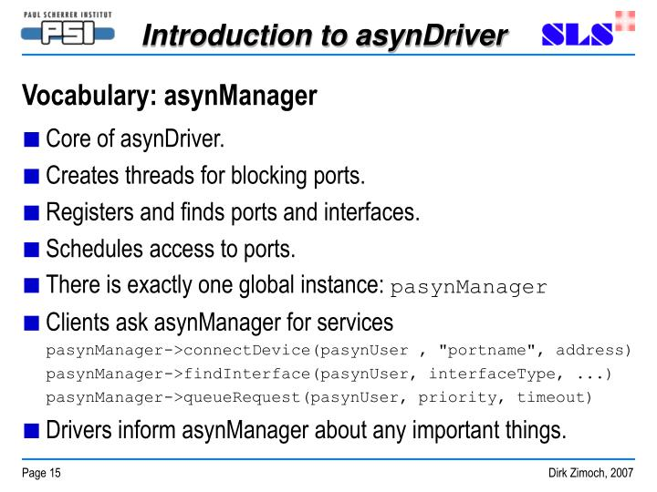 Vocabulary: asynManager