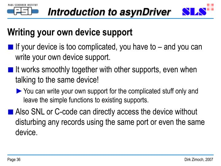 Writing your own device support