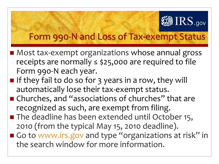 Form 990-N and Loss of Tax-exempt Status