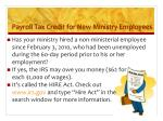 payroll tax credit for new ministry employees