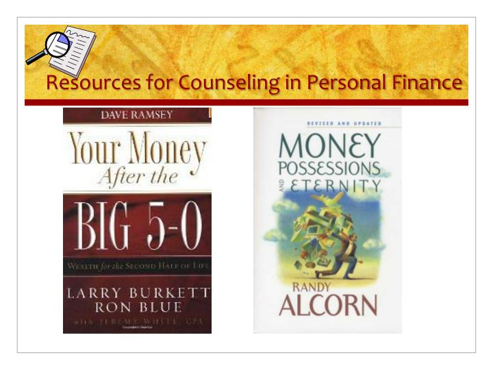 Resources for Counseling in Personal Finance