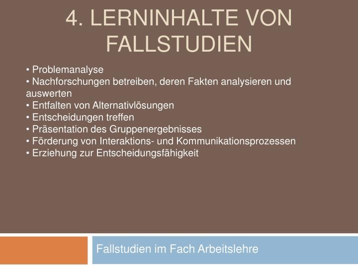 4. Lerninhalte von Fallstudien