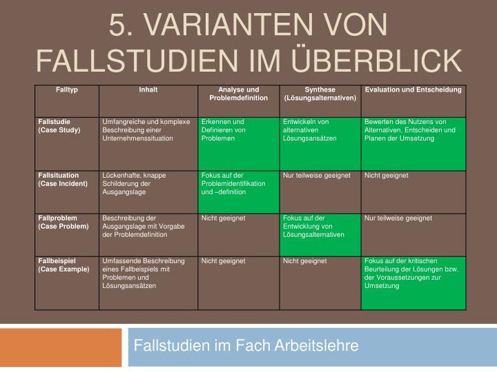 5. Varianten von Fallstudien im Überblick