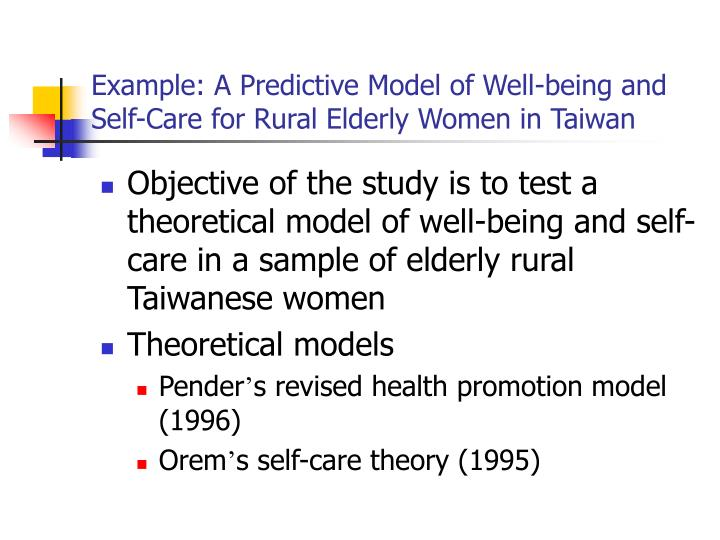 Example: A Predictive Model of Well-being and Self-Care for Rural Elderly Women in Taiwan