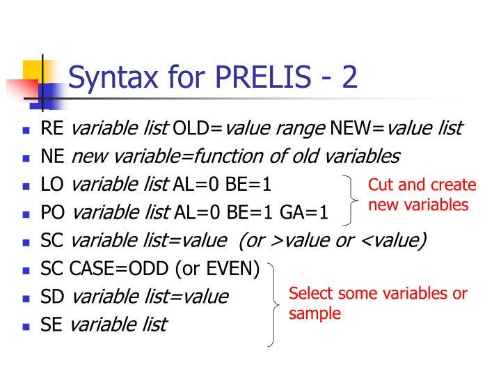 Syntax for PRELIS - 2