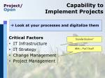 capability to implement projects