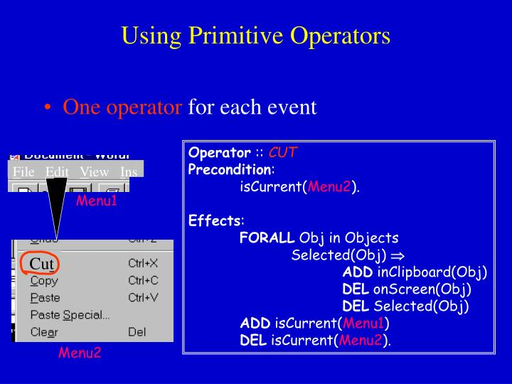 Using Primitive Operators