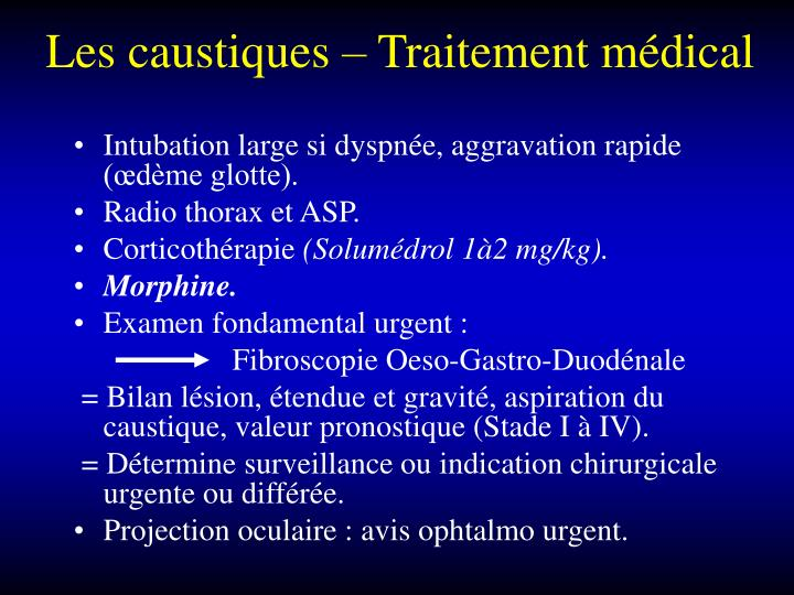 Les caustiques – Traitement médical