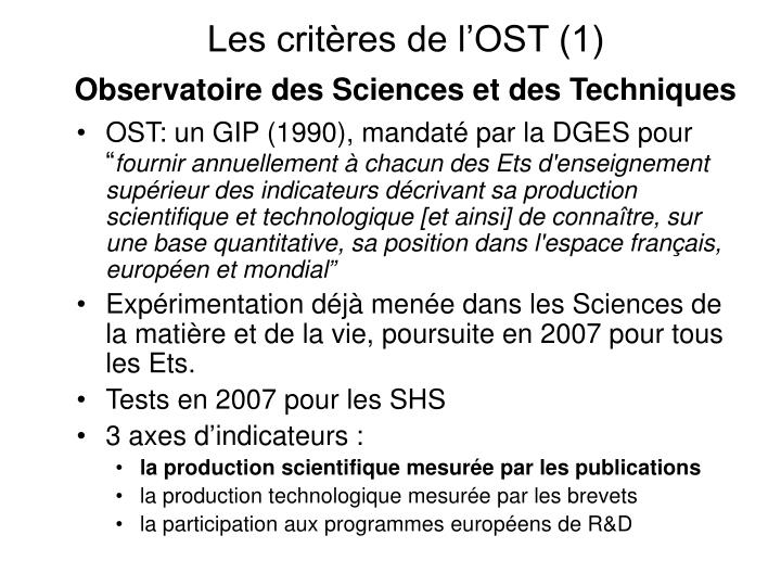 Les critères de l'OST (1)