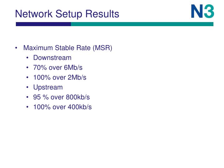 Network Setup Results