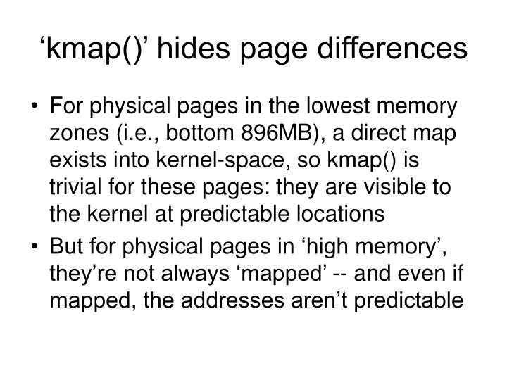 'kmap()' hides page differences